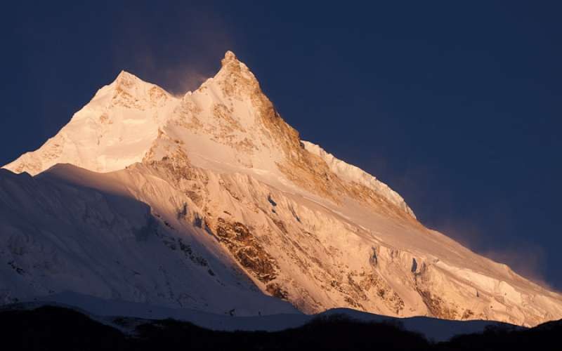 Early morning light on Manaslu, from Samagaon (Samagaun), Around Manaslu Trek, Nepal